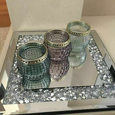 Square Jewelled Diamante Mirrored Candle Plate Tealight Holder Candle Tray Plate
