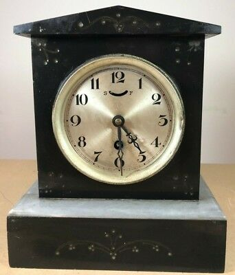 Antique Slate Stone Wind Up Mantel Clock - Heavy Item - No Key So Untested