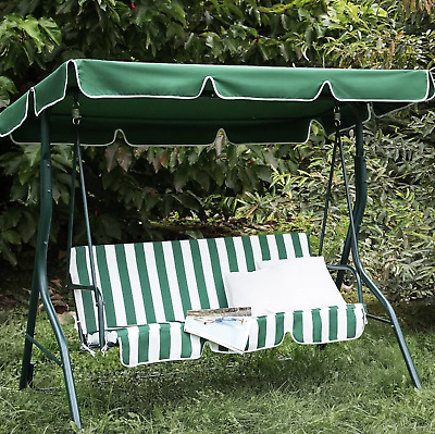 Garden Swing Bench 3 Seater Hammock Cushioned Patio Canopy Metal Swinging Chair