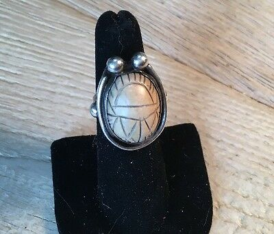Egyptian Revival Scarab Sterling Silver Ring Petrified Wood Hand Wrought Antique