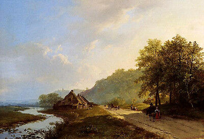 Oil painting A Summer Landscape With Travellers and river free shipping cost