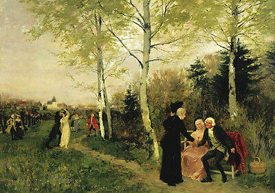 Oil painting Max Volkhart - Spring outing scene people in garden landscape