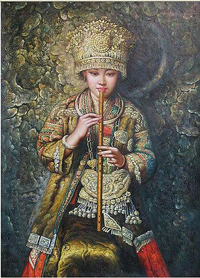 Oil painting portrait Chinese young Minority Hmong girl playing Hand painted