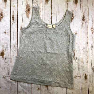 32bc9f0232a347 Chicos Gray Glitter Floral Lace Blouse Metallic Tank Top Womens Size 1  Medium 8