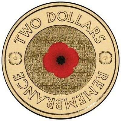 5 x AUSTRALIA 2012 ANZAC $2 REMEMBRANCE DAY RED POPPY COINS UNC ON RSL CARDS