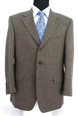 Canali Italy 3Btn Sport Coat Wool Mohair Cashmere Textured Blend Brown 44R