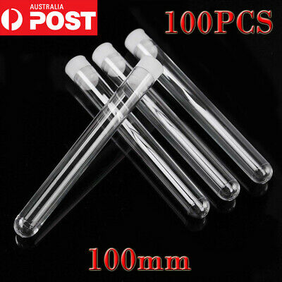 100 Clear Plastic Test Tube Set with Push Caps Sample Containers Vials 12*100MM