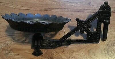 Antique Ornate Cast Iron Wall Sconce Oil Kerosene Lamp Lantern 8 1/4""