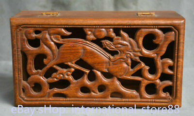 10.4 inch Old China Redwood Dynasty Palace Hollow Dragon Book Box