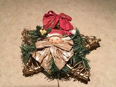 8 inch Grapevine Gold Bark Santa Christmas Star Tree Topper Rustic Twig Country