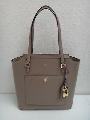 79410c1ed90c RALPH LAUREN Women's Lowell Tote Bag Purse Taupe Real Leather Gold Logo  Pendant