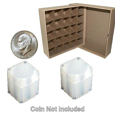 Guardhouse Large Dollar/Tan Coin Tube Box with 25 Numis Square coin Tubes