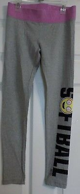 Girl's Black Gray Pink Softball Theme Justice Athletic Pants Leggings Size 14