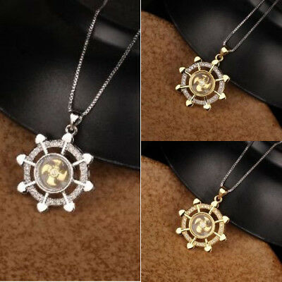 Pendant Beautiful Necklace Chain With Rudder Plated Bling Silver/Gold Diamond
