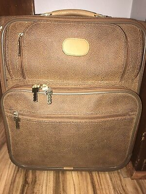 Jack George  Brown Pebbled Leather Briefcase Suitcase Luggage Carry On