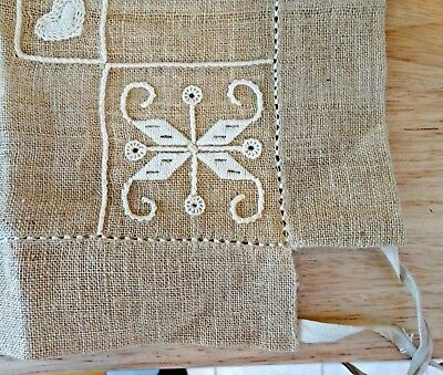 Vintage Ecru Embroidered Card Table Tablecloth Natural Linen