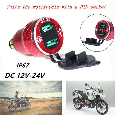 Red Motorcycle Dual USB Charger Voltmeter Phone Charger Power Socket Fit For BMW