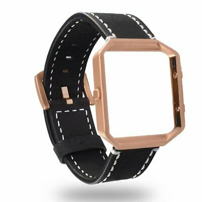 For Fitbit Blaze Leather Replacement Watch Band Wrist Wristband With Metal Frame