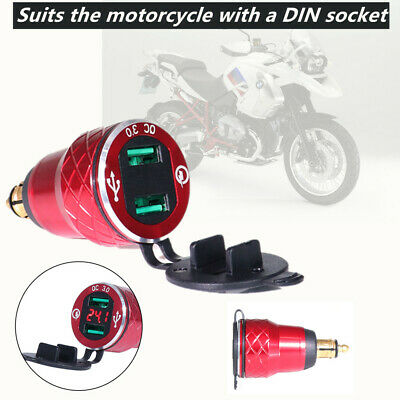 1*Hella Plug Red Voltmeter USB Chargers Power Socket Fit For Triumph Motorcycle