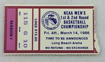1985-86 03/14 NCAA Basketball Championship Round 1&2 at Long Beach State Ticket