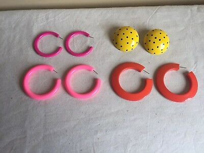 Vintage Mixed Lot Of (4)  Modern Contemporary Vibrant Color Hoop Earrings