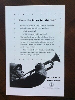 vintage 1942 original print ad Bell Telephone System WWII amazing condition