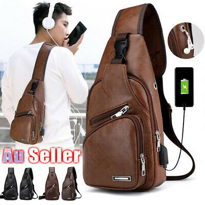 Mens Chest Bag Leather Shoulder Backpack Sling Cross Body Man Satchel Travel Bag