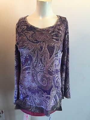 9a2a370aa Chico's Velvet Blouse Long Sleeves Scoop Neck Embellished Paisley Print Sz  0 New