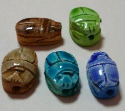Lot of 5 Egyptian Statues, Beetle Scarabs Ceramic Stone