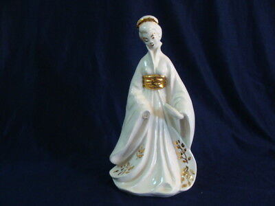 "Chinese Asian Porcelain Figurine Woman Statue Gold Trim 10"" Tall"