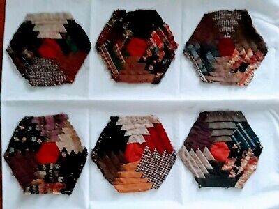 Moderate Price 2049 Approx 6 In Friendly Six Fabulous Antique Hexagon Log Cabin Quilt Blocks