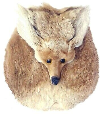 FOX MASK HEAD SPORRAN-Completely Hand Crafted-Real Leather Body-Fox Fur Front