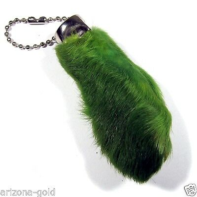 Real GREEN Rabbit Foot Lucky Keychain Vraie Patte de Lapin Chanceuse