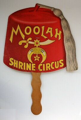 Ancien Eventail Publicitaire Cirque Moolah Shrine Circus