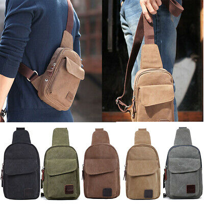 Men/Women Canvas Casual Hiking Bicycle Crossbody Chest Sling Bag Shoulder Bag