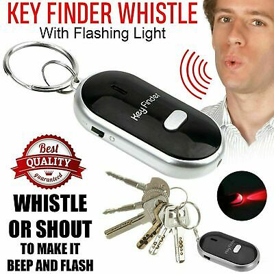 Balck Whistle Lost Key Finder Flashing Beeping Locator Remote Chain LED Torch UK