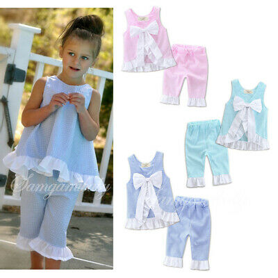 Summer 2PCS Set Kids Baby Girls Bow Vest Tops Shirt+Shorts Pants Clothes Outfits