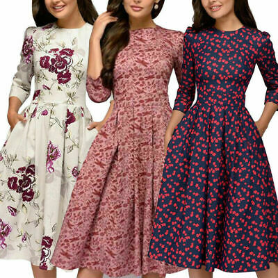 Autumn Spring Vintage Women Retro Tunic Long Sleeved Print Floral A-Line Dresses