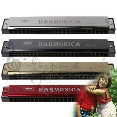 New Professional 24 Hole Harmonica Key of C Mouth Metal Organ for Beginners