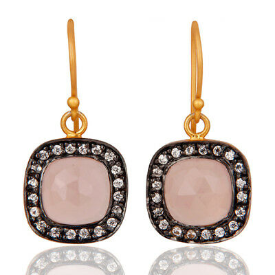 14K Gold Plated Rose Chalcedony & Cubic Zirconia Ladies Fashion Earrings Jewelry