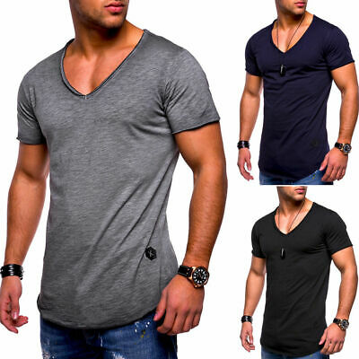 Men Gym Tight Tops T-Shirt Short Sleeve Slim Fit V-Neck Casual Fitness M-3XL