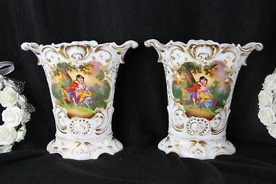 PAIR old french vieux paris porcelain antique Vases romantic floral scene