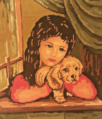 """Vintage Needlepoint Completed Canvas Tapestry Portrait Girl with Dog 18*15.8"""""""