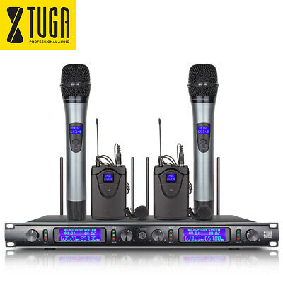 EW240 UHF 4 Channel 2 Handheld 2 Bodypack Wireless Microphone System for Church