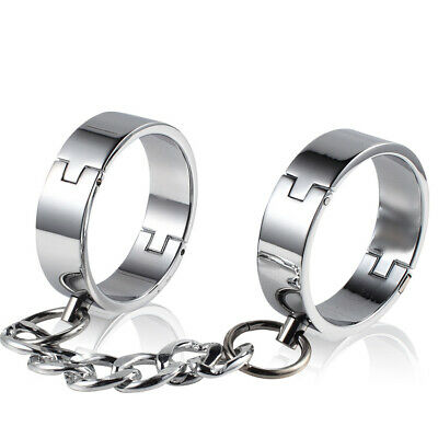 Heavy Steel Handcuffs Chain Wrist Ankle Cuffs Restraint Slave Shackle Roleplay