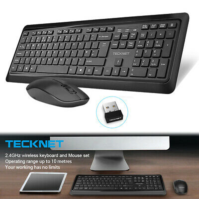 Tecknet 2.4G Wireless Keyboard and Mouse Combo Set + USB Dongle for Desktop PC