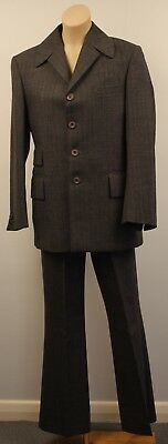 SMALL ORIGINAL VINTAGE  1960s 70s MENS GREY SUIT .