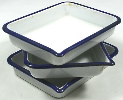 Vintage Blue Trim White Enamel (3) Pan Lot Rectangular Old Farmhouse Style