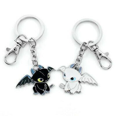 2X How to Train Your Dragon 3 Night Fury Light Fury Toothless Metal KeyChain New