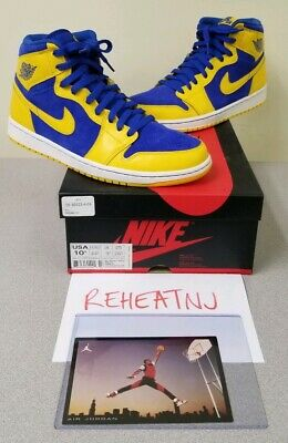 0ea50c02c9495 NIKE AIR JORDAN 1 RETRO HIGH OG LANEY MAIZE ROYAL 555088-707 Size 10.5 worn